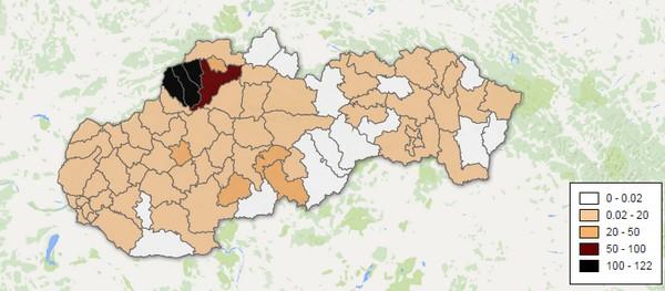 Mapa Slovenska a výskyt kliešťov