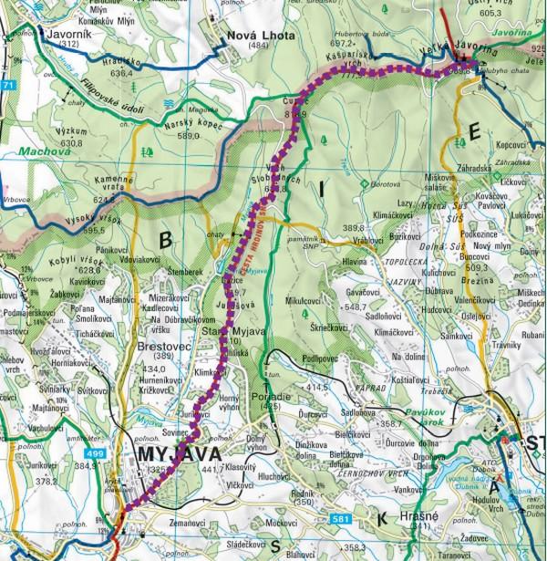 Mapka trasy z Myjavy na Veľkú Javorinu