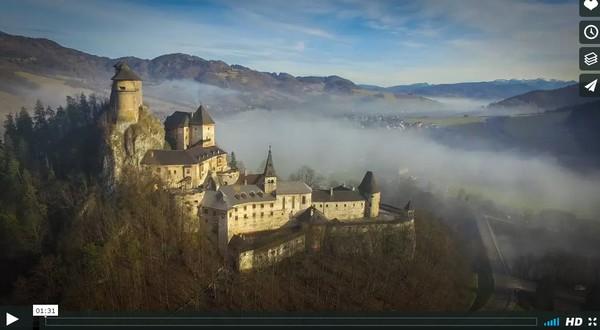 oravský hrad z výšky