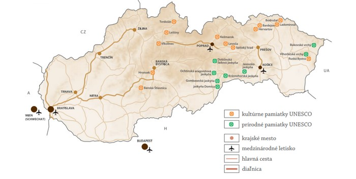 slovenské klenoty UNESCO mapa