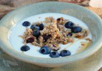 Domáca granola s jogurtom a čučoriedkami