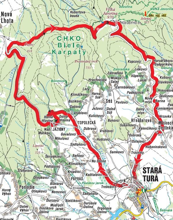 Cyklotrasa na Veľkú Javorinu - mapa