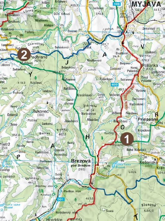mapa Branč Bradlo