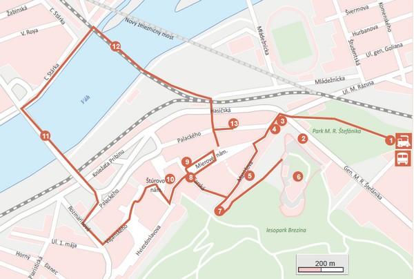 mapa prechádzky po meste Trenčín