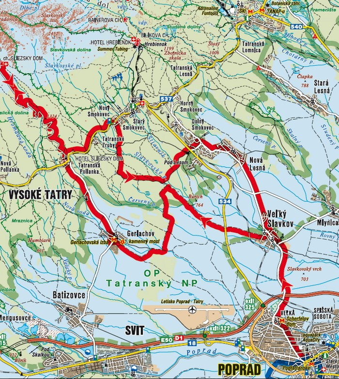 mapa cyklotrasa tatry