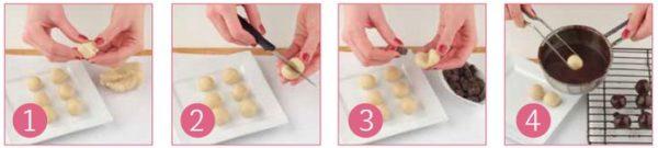marcipánové guľôčky v čokoláde postup