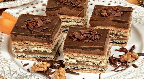 orechovo-čokoládové rezy