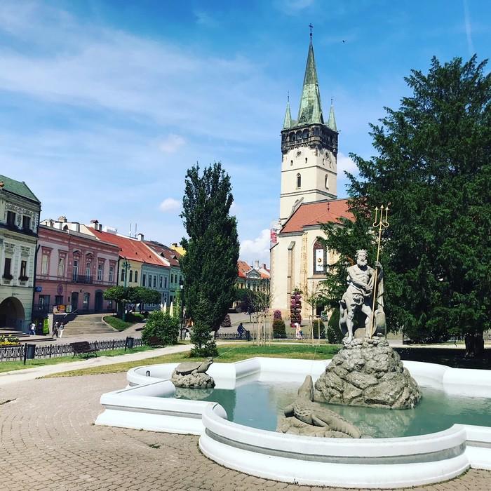 Prešov Neptúnova fontána centrum