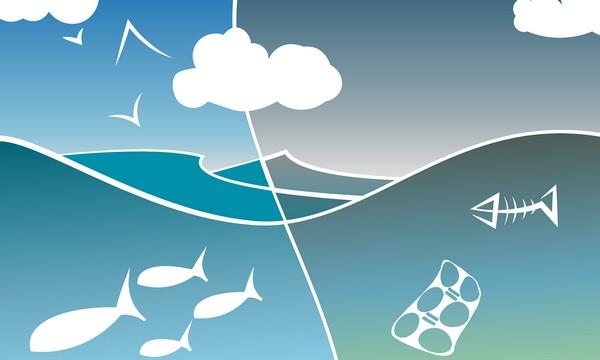 život bez plastov oceán nákres