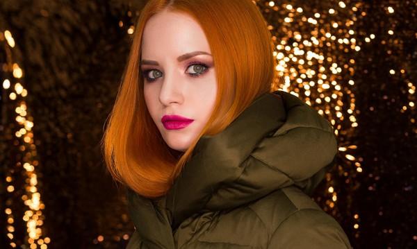 dámska zimná bunda červenovláska