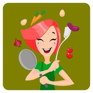 žena kuchyňa jedlo kreslený obrázok