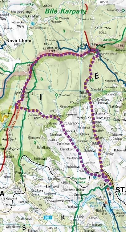 mapa pešia túra na Veľkú Javorinu
