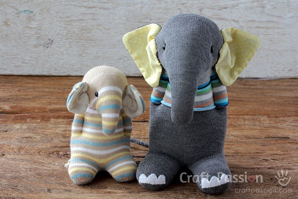 sloníky z ponožiek - upcyklácia