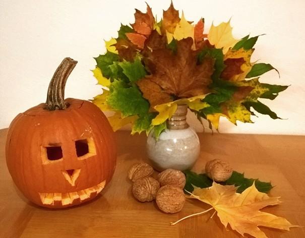 jesenné dekorácie - kytica z listov