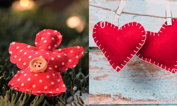 šité ozdoby na stromček - vianočné dekorácie