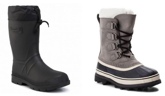 Topánky do snehu celogumené KAMIK Hunter a snehule SOREL Caribou s pogumovanou časťou