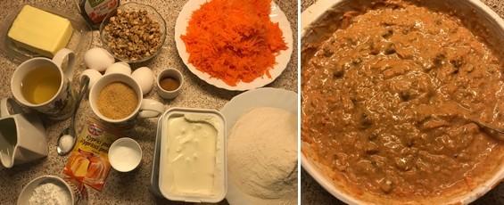mrkvová torta - suroviny