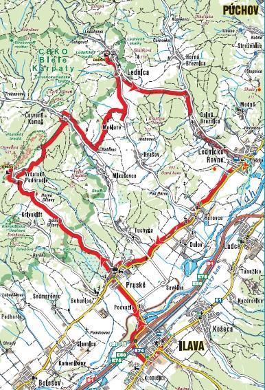 mapa hrady Bielych Karpát na bicykli