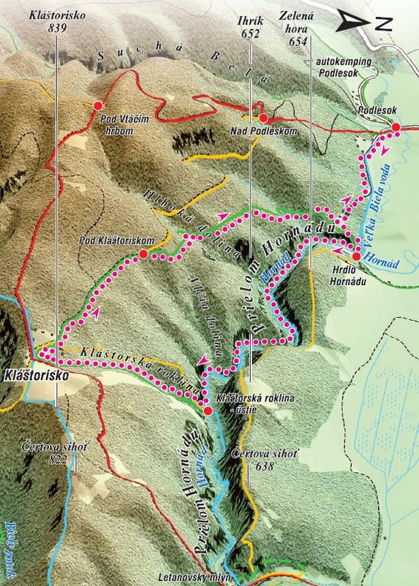 mapa trasa na Kláštorisko