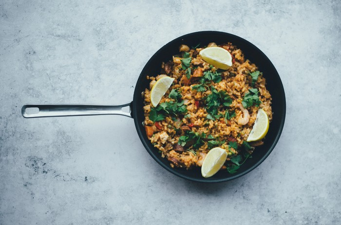 paella z troch fazúľ recept