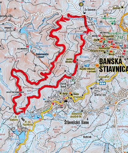 mapa bežkovanie okolo Paradajsu
