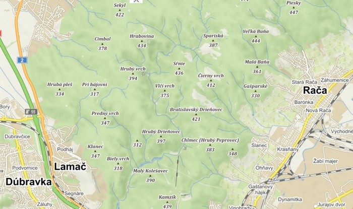 mapa bratislavský lesopar a kopce