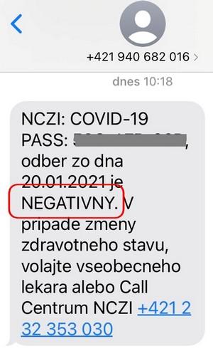 covid test negatívny sms