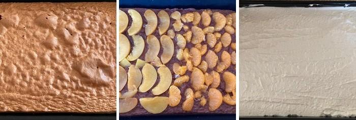 svieži piškót s ovocím a krémom z mascarpone a tvarohu