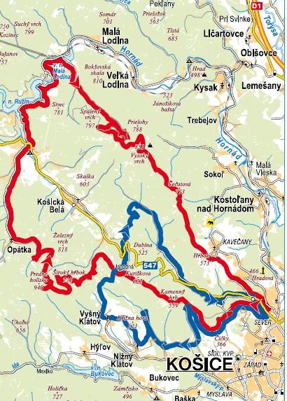 mapa turistika v okolí Košíc
