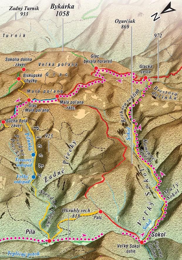 mapa veľký Sokol tiesňava